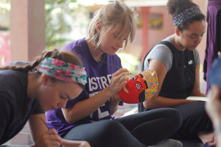 Students learn about mask business and test artistic ability
